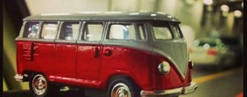 a photo of a toy VW westfalia bus on the Doc Bus steering wheel aboard BC Ferries!