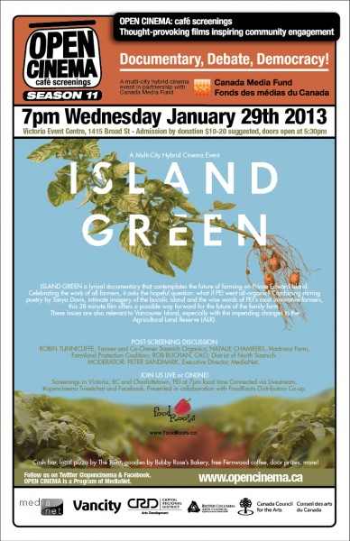 poster for OPEN CINEMA Island Green Multi-city Hybrid Cinema event Jan 29, 2014