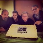 Photo of the OPEN CINEMA team Kirk Schwartz, Catlin Lewis, Mandy Leith, Peter Sandmark