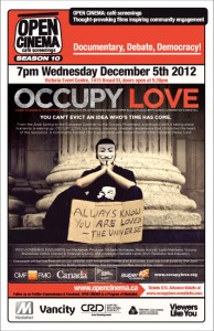 poster for Occupy Love Victoria premiere on December 5
