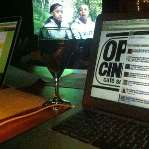 photo of wine, twitter stream while Play Again screens