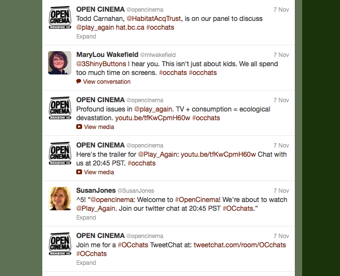 screen shot of the #OCchats twitter feed