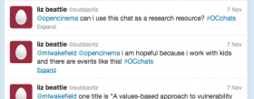 screen shot of Liz Beattie's twitter request to use the chat as a research resource