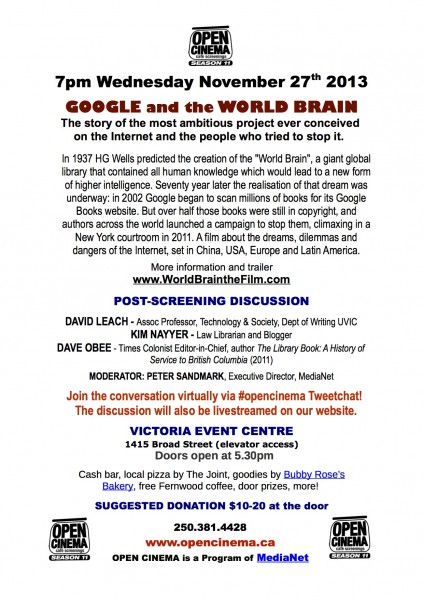 details about Google and the World Brain Victoria Premiere