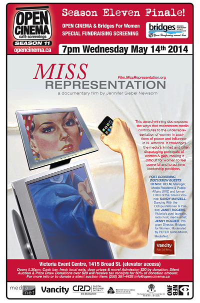 poster for OPEN CINEMA and Bridges for Women special fundraising screening of MISS REPRESENTATION May 14, 2014
