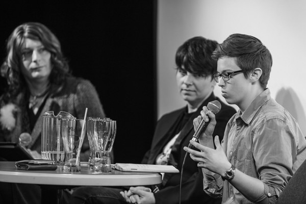 photo of Alyx MacAdams sharing on the post-screening discussion panel.