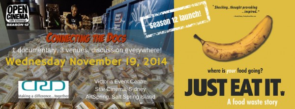 banner for OPEN CINEMA Connect the Docs screening of Just Eat It Nov 19, 2014