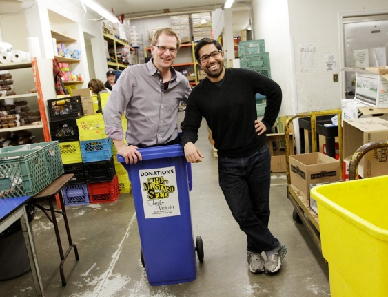 Paul Latour of Hero Works, left, and Rudi Wallace, assistant food-bank director at the Mustard Seed Food Bank.   Photograph By LYLE STAFFORD, Times Colonist