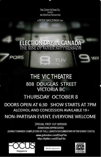 poster for October 8 Victoria BC screening of Election Day in Canada: the rise of voter suppression
