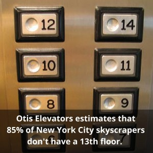 Otis elevators estimates that 85% of NYC skyscrapers don't have a 13th floor